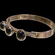 Signed Mid Century Vintage Finish Sterling Silver Cuff Bracelet w/ Black Cabochons