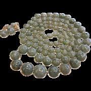 Long Graduated Natural Jade Bead Necklace & 14K Gold Clip Earrings Set