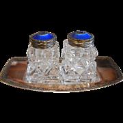 Vintage Salt Shaker Set & Tray Signed David Anderson Sterling Silver