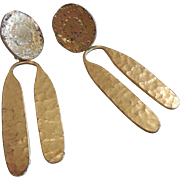 Vintage Tribal-Style Gold-Tone Clip Earrings Alva Museum Replicas
