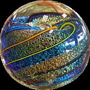 Vintage GLASS EYE STUDIO Multi Colored Iridescent Art Glass Paperweight