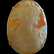 Beautiful Carved Seashell Cameo Brooch/Pendant