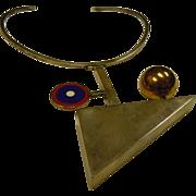 Fabulous Handmade English Designer Richard Barth Sterling Silver Geometric Neck Ring Necklace