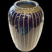 Cobalt Blue Glazed Caged Ceramic Vase