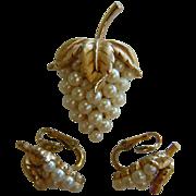 Vintage Trifari Faux-Pearl Grape Bunch Brooch & Clip-On Earring Set