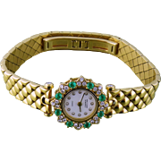 Estate Van Cleef & Arpels VCA 18K Yellow Gold Diamond Emerald Lady's Wristwatch