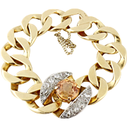 Vintage Estate Seaman Schepps 14K Gold Diamond Citrine Curb Link Bracelet