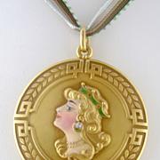 Antique Art Nouveau Alling Co 14K Gold & Enamel Enameled Lady XL Locket