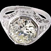 Art Deco Platinum 1.97ct Old European Diamond Engagement Ring, EGL Report