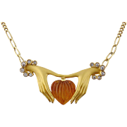 Estate Carrera y Carrera 18K Yellow Gold Diamond Citrine Heart Hands Necklace