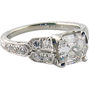 Estate Platinum 1.23ct F VS2 Asscher Cut Diamond Amavida Setting Engagement Ring, GIA
