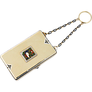 Art Deco Cartier NY 18K Gold & Cloisonne Enamel & Diamond Compact Vanity Box w/Chain Ring ...