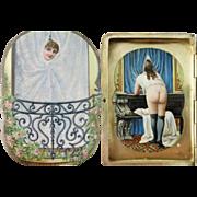 Antique Continental 925 Sterling Silver Enamel Erotic Nude Cigarette Case, c. 1910-1920