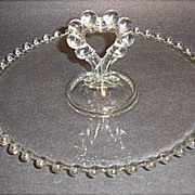 """SALE Imperial Candlewick 8"""" Center Heart Handled Mint Tray"""