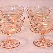 SOLD Depression Era Hocking Glass ~ Princess Footed Sherbets 5 Ounce ~ Pink 1931-1934