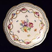 SALE Vintage Schumann Dresden Flowers Swag Plate~Reticulated Rim