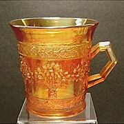 SALE Fenton Orange Tree Carnival Glass Mug~Marigold