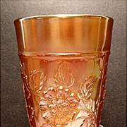 SOLD Dugan Glass Co. Rambler Rose Carnival Marigold Tumbler