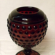 SALE Imperial Glass Early American Hobnail Ruby Red Ivy Ball or Rose Bowl ~ 1930 ...
