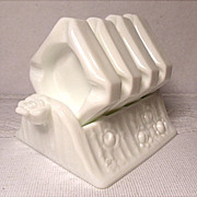 Fenton Rose Ashtray Set ~ Milk Glass ~ #9210-MI