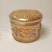 Vintage Carnival Glass Powder Jar - Dugan Vintage Grape Pattern -  Vanity Jar - Antique - ...