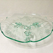 "Vintage ~ Depression Era ~ Lancaster Glass - Line #1830/7 - Three Toed 8"" Tray - Apple .."