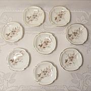 SALE Antique Carlsbad Austria Porcelain Butter Pats - Pattern CAR46 - Set of 8