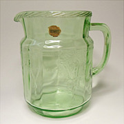 "Cameo - Ballerina - Depression Era - Hocking Green 36 ounce - 6"" Juice Pitcher  With Orig"