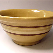 "Vintage 8"" Yellow Ware - Yelloware Banded  Mixing Bowl  Dark  Butterscotch"
