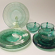 "Depression Era - ""Pretty Polly Party Dishes"" - Jeannette Glass - Doric And Pansy - U"