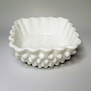 SOLD Vintage Fenton Milk Glass Hobnail Berry Bowl