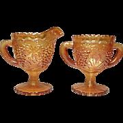 Imperial Glass Marigold Iridescent Grape Pattern Sugar and Creamer