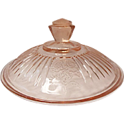 """Hocking Depression Era Pink Mayfair Cover Only For Butter or 7"""" Vegetable Dish"""
