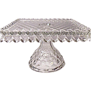 SOLD Fostoria American - Pedestal Square Cake Stand - Salver #2056/631 With Rum - Brandy Well