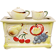 Nice Vintage Ceramic Japan Wall Pocket - Planter - Stove - Teapot and Cooking Pot - Fruit