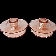 REDUCED Depression Era - Fostoria Fairfax Footed Mushroom Candle Holders (pair) #2375-1/2 Rose