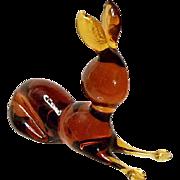 Vintage Rainbow Art Glass Honey Amber Rabbit- Hand made - 1970's