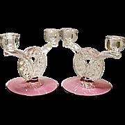 Vintage Cranberry Tiffin Dubonnet aka King's Crown 2-lite Candle Holders - Pair