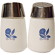 Vintage Milk Glass Salt and Pepper With Morning Glory Decoration Mid-Century Modern.