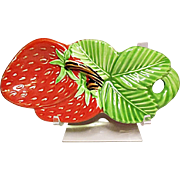 Vintage Ceramic Made In Japan Bright Red Strawberry Spoon Rest - Holder