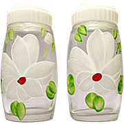 SALE SAVE 20% - Mid-Century Bartlett-Collins Hand Painted White Flower Salt and Pepper Shakers