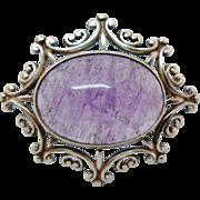Vintage Sterling Silver Amethyst Cabochon Brooch