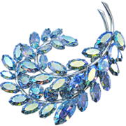 Sherman Aurora Borealis Pastel Blue Feather Brooch