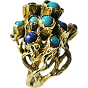 Modernist Lapis Lazuli Turquoise Ring 14 Karat Gold Organic Design Vintage Statement Piece
