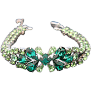 Signed Sherman Peridot And Hunter Green Rhinestone Bracelet