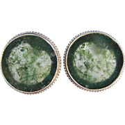 Moss Agate Sterling Silver Pierced Earrings