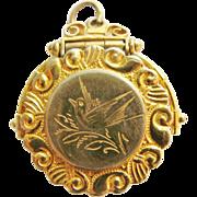 Victorian Bird Motif Gold Filled Locket Or Pill Holder Pendant
