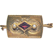 Small Gold Filled Victorian Seed Pearl Pink Tourmaline Brooch