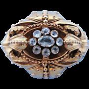 Antique 14 Karat Gold & Aquamarine Victorian Mourning Brooch