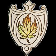 Edwardian Enamelled Sterling Silver Maple Leaf Hat Pin